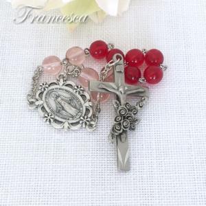 赤いバラのミニロザリオ
