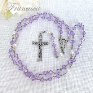 スワロフスキー 淡い紫のロザリオ