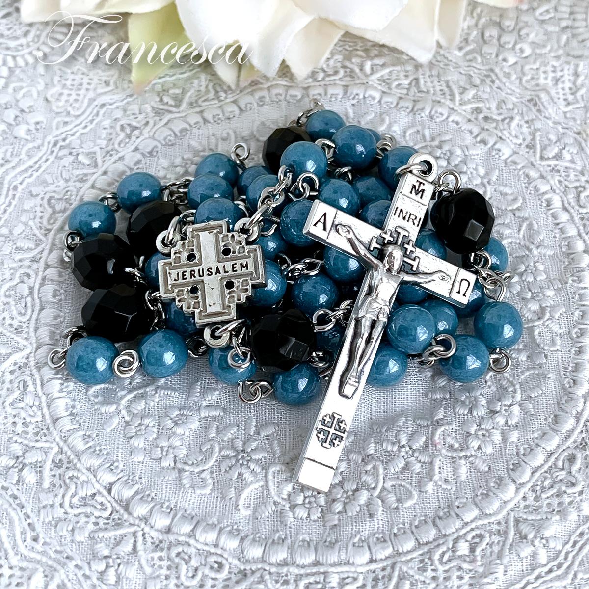 エルサレムのロザリオ(ブルー&ブラック)